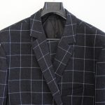 Tailor Made Suit's Windowpane Wool and Cashmere blend fabric, sample available in store in Albany or Auckland CBD Queen Street