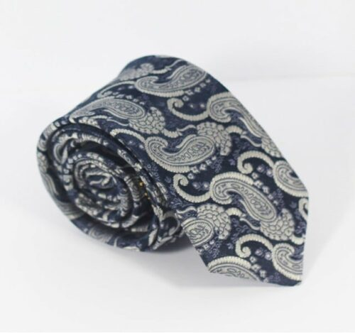 Navy and White Paisley Tie
