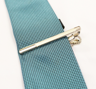 Silver Toned Stainless Steel Tie Clip
