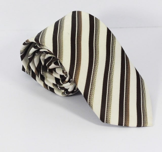 White and Black and Gold Stripe Tie
