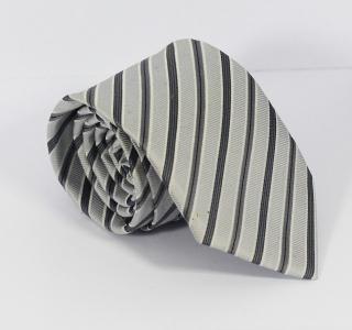 White and Grey Stripe Tie