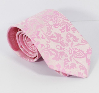 White and Light Pink Paisley Tie